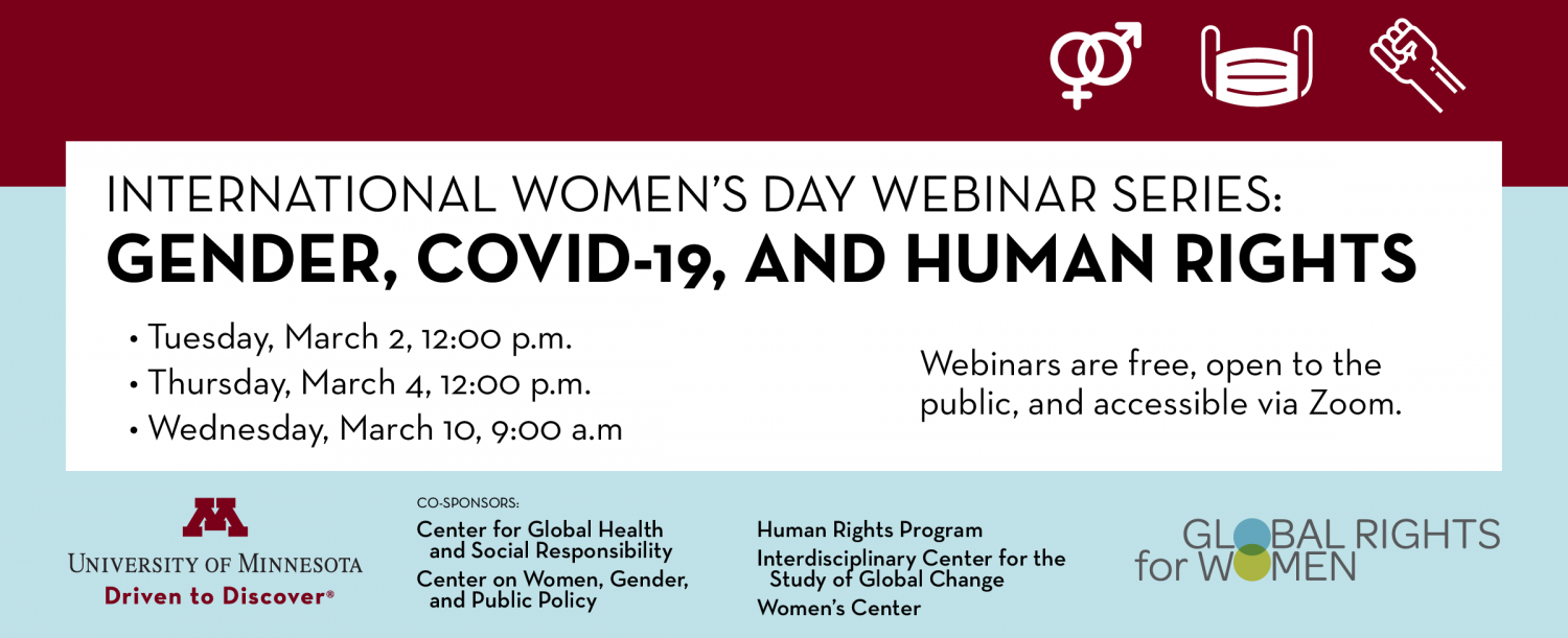 Event cover for webinar series with the series title: Gender, COVID-19, and Human Rights