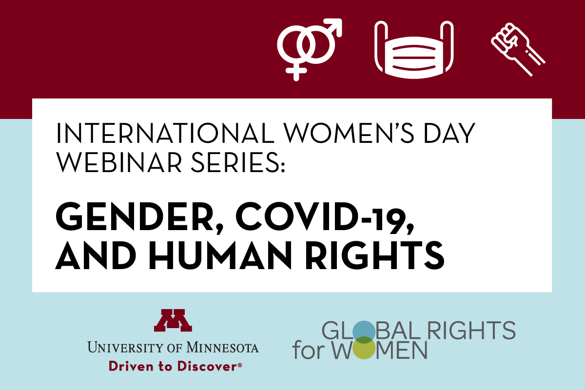 Graphic for International Women's Day event with series title: Gender, COVID-19, and human rights