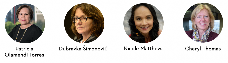 Photos of the panelists: Patricia Olamendi Torres, Dubravka Simonovic, Nicole Matthews, Cheryl Thomas