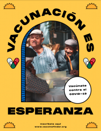 """Poster in Spanish with word """"vaccination is hope"""""""