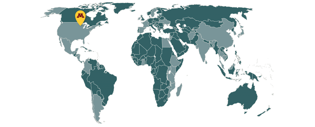 World map with highlighted countries where CGHSR has worked