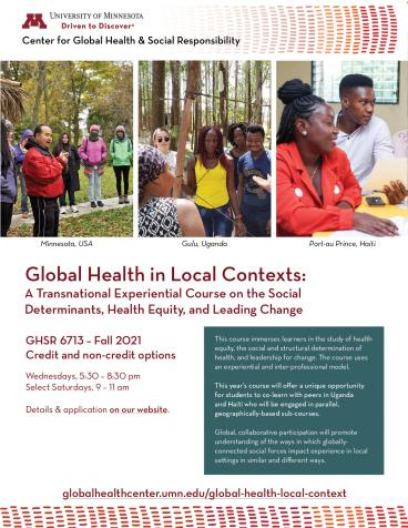 Flyer for Global Local 2021. Includes three images of students in class, and the course number GHSR 6713